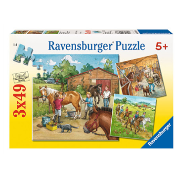 A Day With Horses 3 x 49 Piece Puzzle by Ravensburger