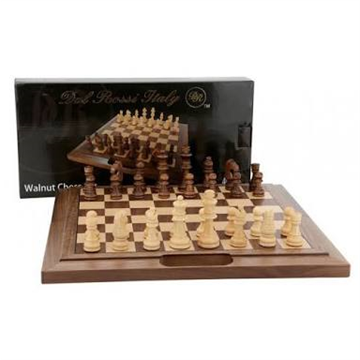 38cm Inlaid Walnut Chess Set By Dal Rossi L2020DR
