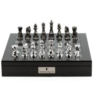 Chess Chess Set Diamond-Cut Titanium & Silver on 20 inch Carbon Fibre Chess Board by Dal Rossi