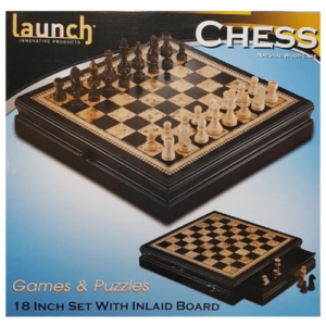 Chess Chess Set 18 inch 45cm Natural Wood by Launch