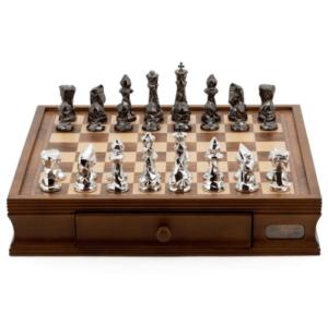 Chess Chess Set Diamond-Cut Titanium & Silver on 20 inch Walnut Finish Chess Board by Dal Rossi